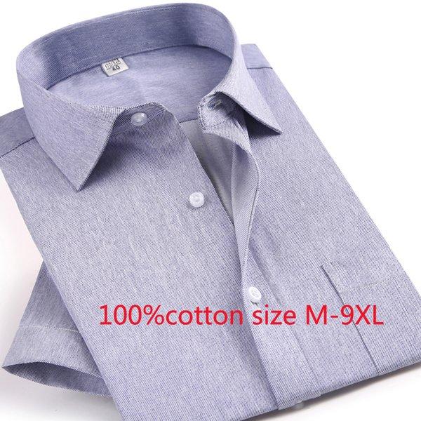 2019 новое поступление 100% хлопок весна осень тучная формальная рубашка с коротким рукавом высокого качества мужская супер очень большой плюс размер M-9XL