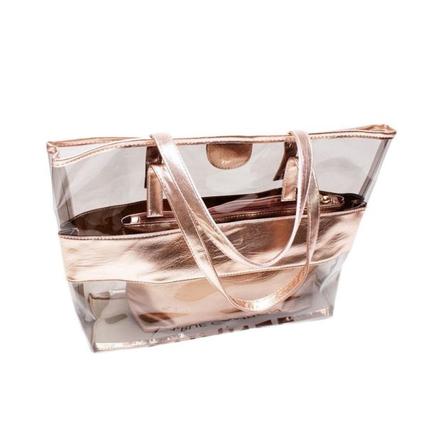 Laamei 2 Unids/set Transparent Jelly Beach Candy Women Shoulder Bag