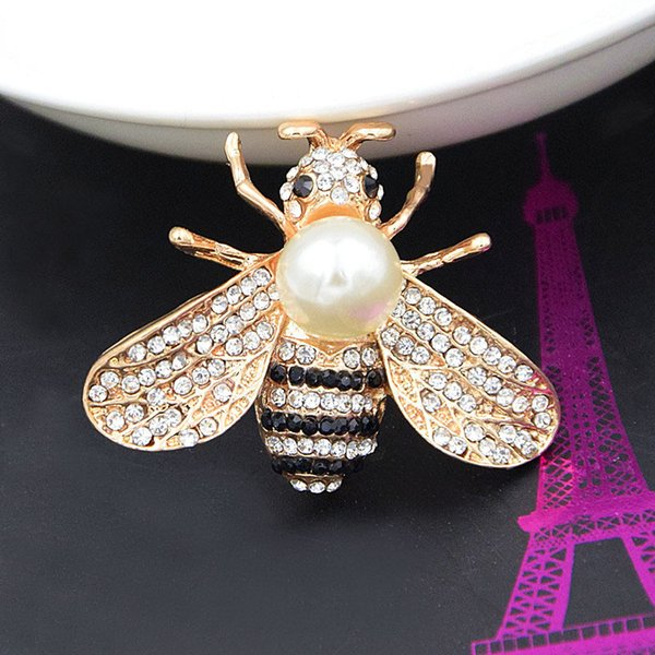 Broche Broches Broches para Las Mujeres Collar de Insectos de Cristal Retro Lindo Abeja Perla Pin Aleación de Piedras Preciosas Broche Joyería de Calidad de Moda Ropa de las mujeres
