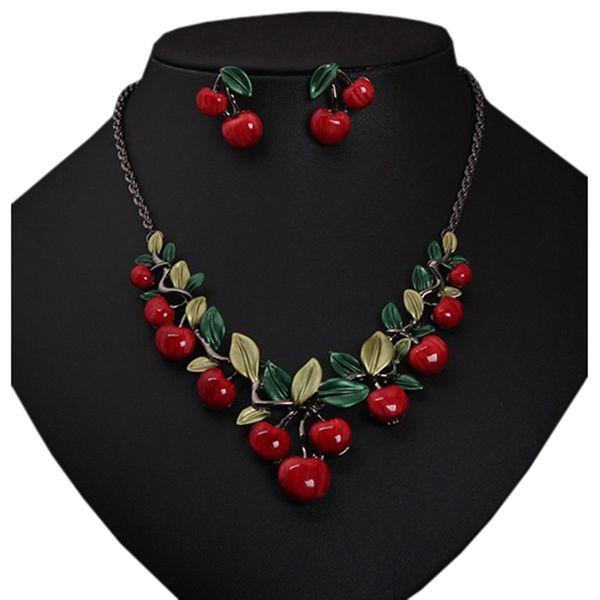 Juego de joyas de moda para mujer en forma de hoja de cereza Dulce Pendiente de botón femenino Collar llamativo Collar llamativo (Color: Rojo)