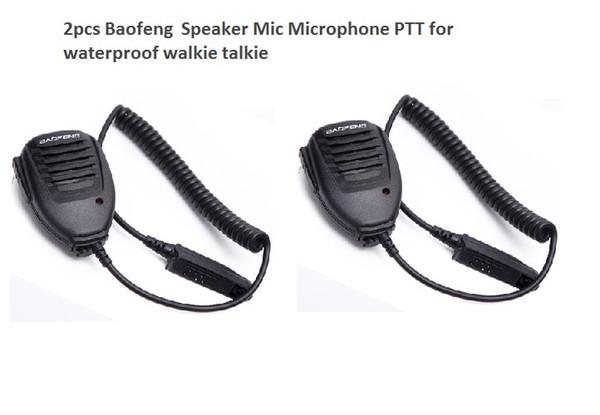 2pcs Handheld Microphone waterproof Speaker for BAOFENG UV-9R plus Walkie Talkie PPT Microphone Baofeng BF-A58 uv9R plus BF-9700