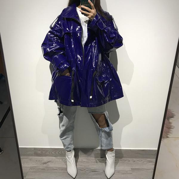 women genuine leather jacket lady patent leather coat