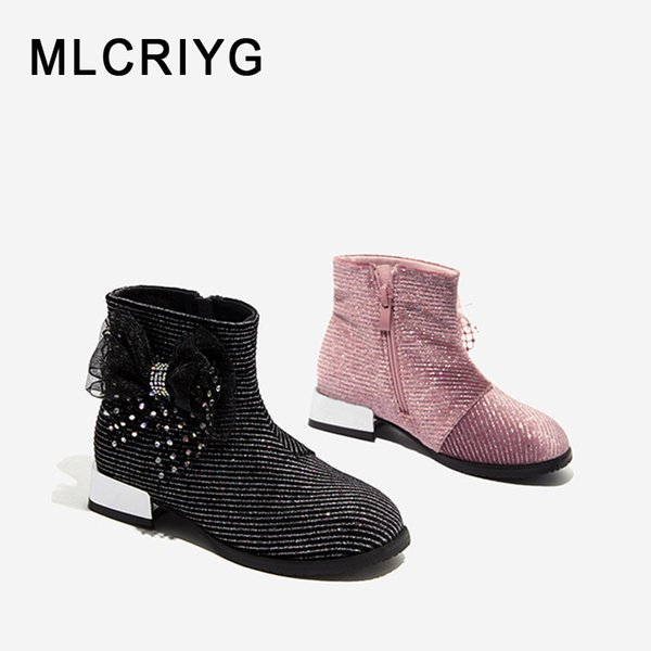 Kids Girls Ankle Boots Low Block Heel Party Princess Bow Zipper Chelsea Shoes UK