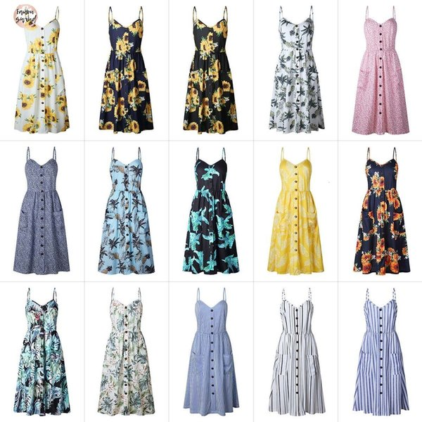 2019 Summer Beach Dress Button Decorated Print Party Women Sundress Boho Long Dresses Plus Size Designer Clothes