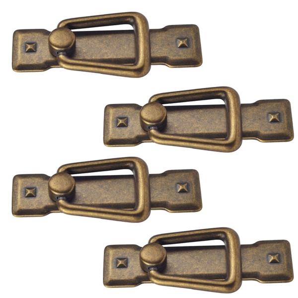 top popular 4x Vintage Kitchen Cabinet Cupboard Dresser Door Drawer Drop Ring Pull Handles Knobs Bronze 2021