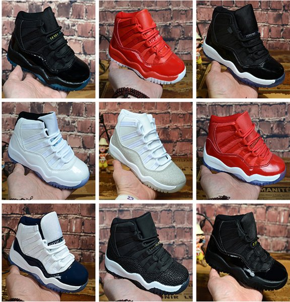 best selling Infant Bred XI 11S Kids Basketball Shoes Gamma Blue Concord Children Trainers Shoes Bred Snakeskin Navy Sneakers Space Jam 11 Trainers