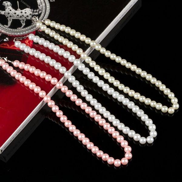 1 UNID Nueva Perla Blanca Collares de Perlas Clásicas Mujeres Beige Simulado Collar de Perlas Negro Rosa Femenina Joyería Nupcial de La Boda Regalos