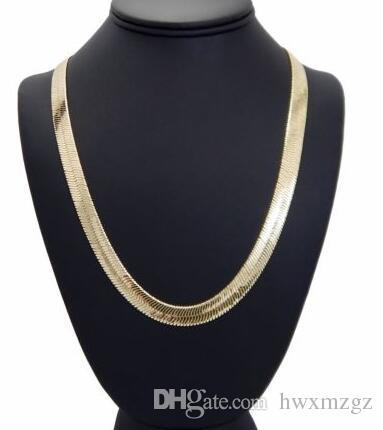 """Mens Flat Herringbone Chain 14K Gold Plated 9mm 24"""" Necklace"""