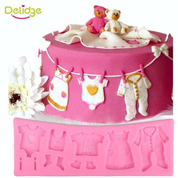 Delidge 1 pc Linda Do Bebê Roupas de Silicone Fondant Mould Cupcake 3D Doces De Chocolate Bolo De Massa De Bolo De Decoração De Casamento Ferramentas
