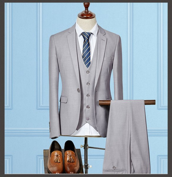 2019 Spring Luxury Mens Suits Terno Casamento Plus Size 3 Pieces Casual Slim Fit Good Quality Solid Men Suits For Wedding