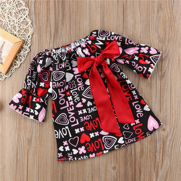 Valentine's Day Baby Girls Dress Bowknot Love Letter Printed Designer Dresses Long Sleeve Skirt Cotton Outfit Valentine Day Princess Skirts