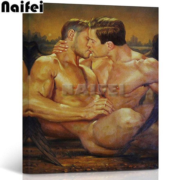 wholesale Diamond Painting Angel Wings Gay Art 5D Diamond embroidery Cross Stitch Kissing Couple Full Diamond mosaic Valentine's gift