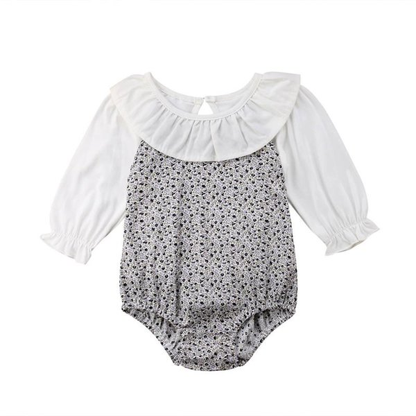Newborn Baby Kid Peter pan Collar Girls Infant Romper Long Sleeve Patchwork Jumpsuit Cotton Outfit