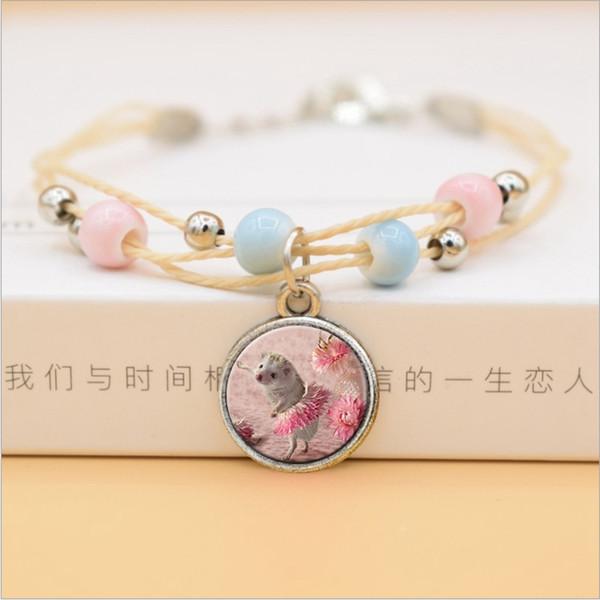 Fashion Colorful Ceramic Beads Multilayer Bracelet Cute Kawaii Hedgehog Glass Pendants Bracelets For Women Girls Korean Jewelry