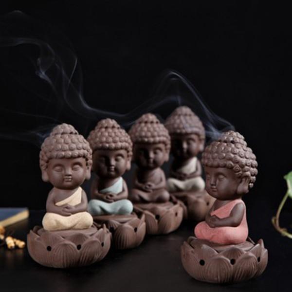 Buda heykelleri backflow tütsü brülör Lotus tütsü tabanı küçük keşiş Lotus taht ev dekor figürinler seramik mor kum