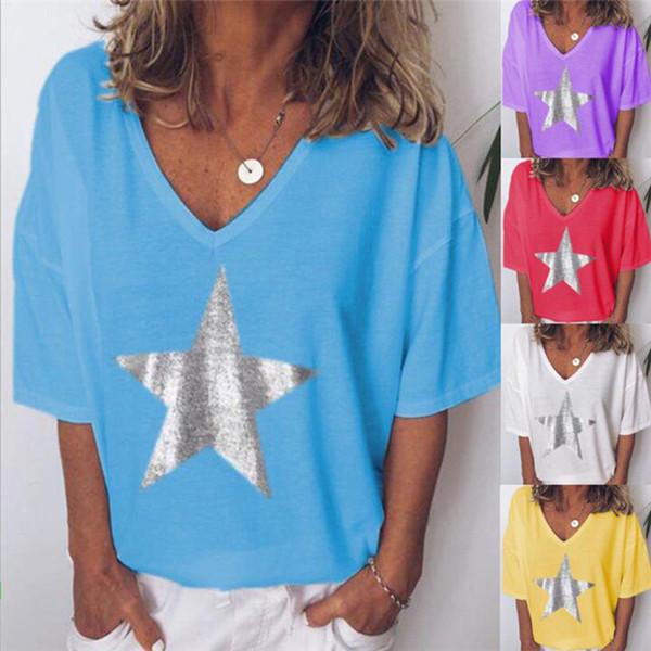 Estampado de estrellas Con cuello en V Diseñador Camisetas para mujer Verano de manga corta suelta Señoras Sexy Tops Camisetas femeninas