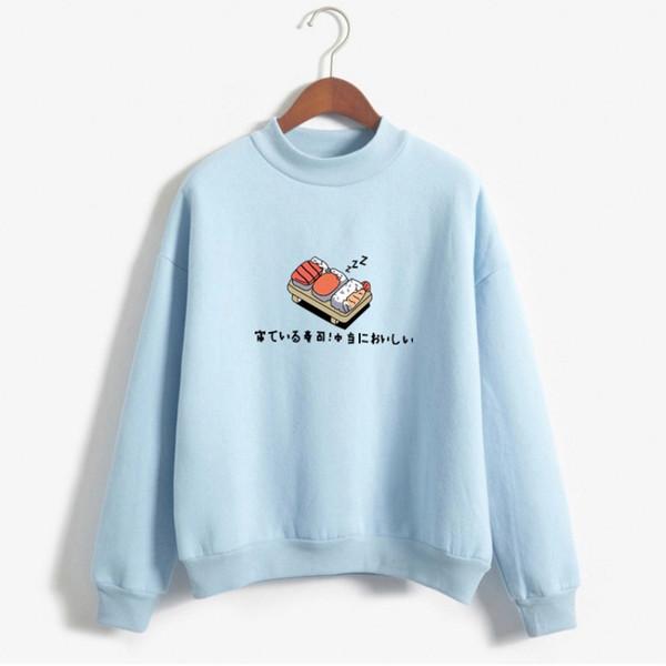 Sudaderas Mujeres de Dibujos Animados Impreso O-cuello Kawaii Sushi Fleece Flojo Moletom Feminino Harajuku Pullover Sudaderas Con Capucha