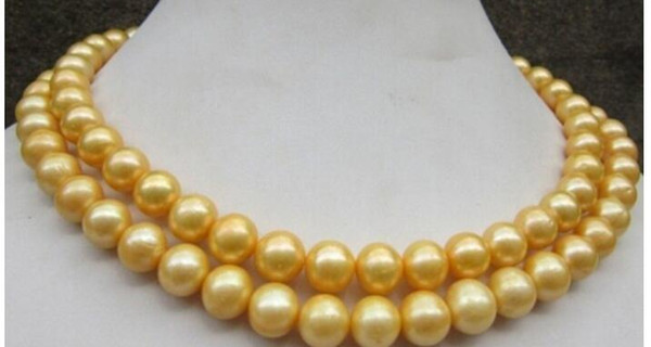 AAA + 35 inch 10-11 mm genuine south sea golden pearl necklace