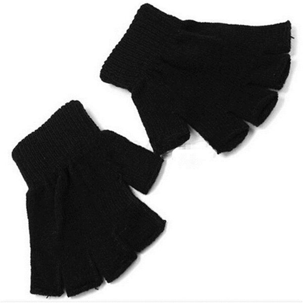1 Pair Novelty Flashing Men Black Knitted Stretch Elastic Warm Half Finger Fingerless Gloves for Men