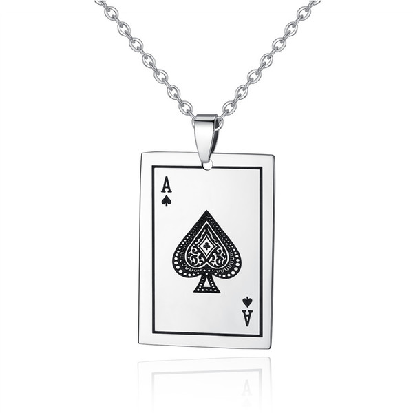 Necklace Jewelry for Men Playing Cards Spades A Pendant Stainless Steel Men Women Necklace