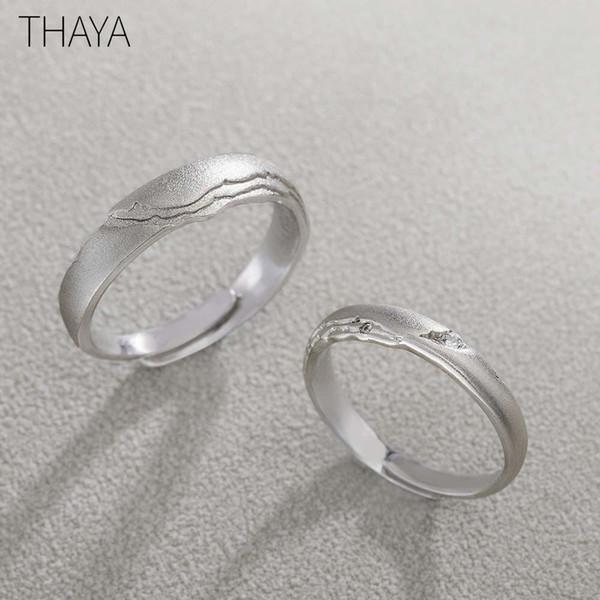 Thaya Alla ricerca di gioielli Anelli S925 Argento Circolare disegno della roccia di Zircon per le donne semplice elegante regalo