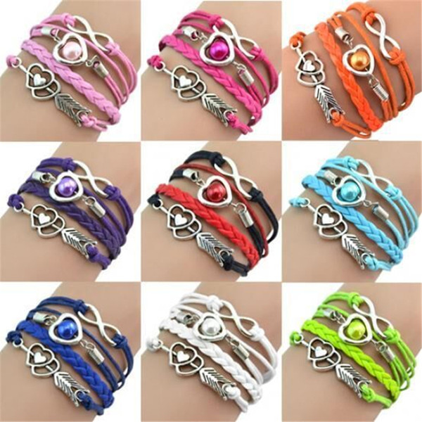 new infinity charm bracelets heart cupid arrow diy leather multilayer artificial pearl bracelet bangles fashion women girl wrap bead jewelry