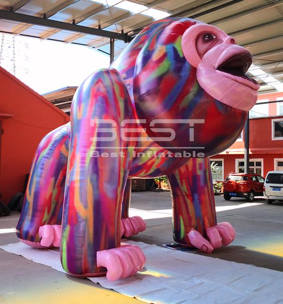 publicité gonflable chaud roi coloré hong, gorille gonflable publicité extérieure, des modèles animaux gonflables pour commerciaux