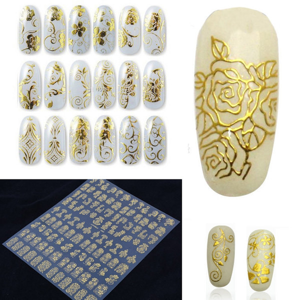 Putimi 108pcs / foglio Nail Sticker 3D Nail Art Stickers Decalcomanie per il trasferimento di acqua Decorazioni di stagnola metallica Adesivi Strumenti