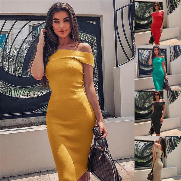 Slash Neck Designer Womens Dresses Summer Cap Sleeve couleur unie Dew Shoulder Ladies Dress Robe Sexy sans manches femmes