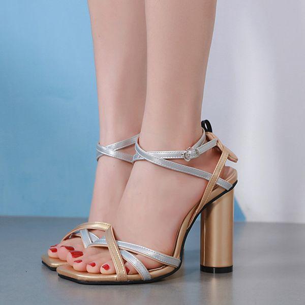 0d9cea2039 2019 elegante prata ouro fino cross strappy saltos grossos mulheres sapatos  de salto alto designer sandálias