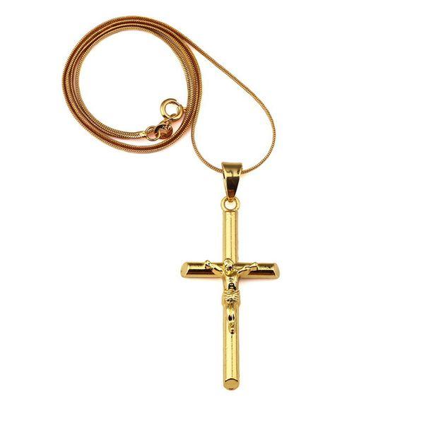 Fashion Mens Charm Jesus Cross Pendant Chokers Necklace 18k Gold Hip Hop Jewelry Design 45cm Long Chains Punk Rock Rap For Men Gift