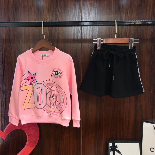 Faldas sistemas de la ropa niños diseñador de dulce de color rosa redonda del cuello de la camiseta + falda 2pcs de rizo de algodón material de otoño nuevos conjuntos de jersey