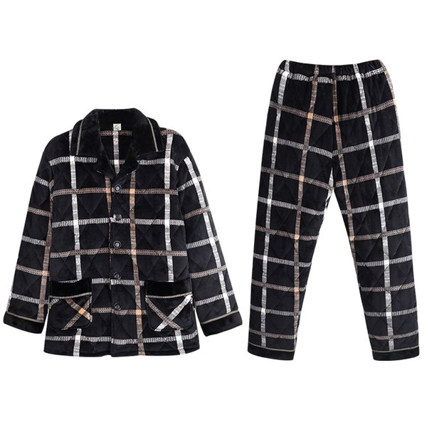Winter Plaid Pajamas Men Thick Quilted Pajama Sets Casual Home Clothes Coral Fleece Sleepwear Suits Men's Clothing Pijama Hombre