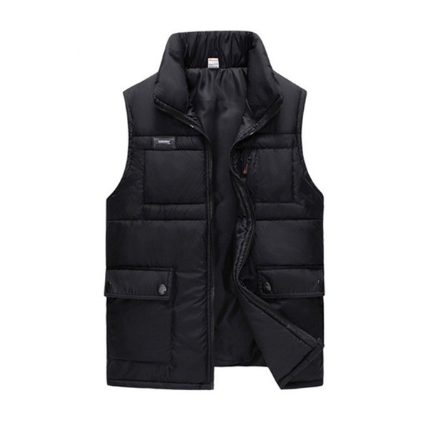 Inverno Black Cotton Padded spessa maglia di For Men autunno caldo casuale rivestimento di marca Multi Pocket Big maniche Gilet Giacca a vento