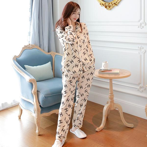 Осень и зима пижамы женские весенние корейские золотые бархатные свободные моды с длинными рукавами кардиган A3 носить снаружи костюм для дома большой Wi-Fi
