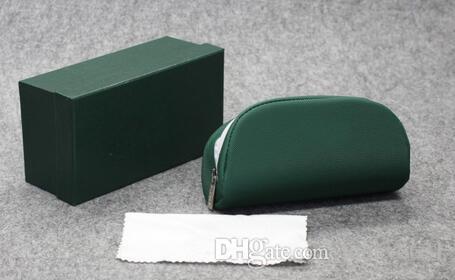 Nueva caja de cremallera de verano de ALTA calidad mujeres y hombres gafas de sol caja de caja verde gafas de grano Litchi paquete suave A +++ envío gratis