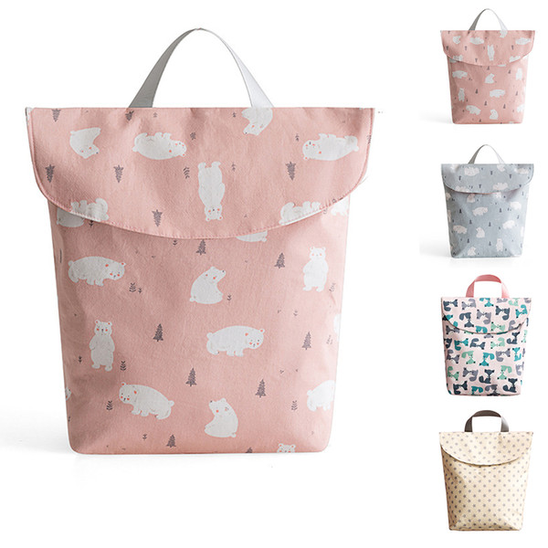 Wet Dry Portable Multifunctional Pocket Dustproof Printed Baby Stroller Reusable Diaper Bags Large Capacity Nappy Use Washable