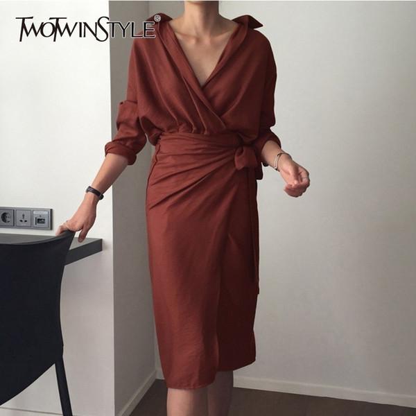 Twotwinstyle Осень женские платья с длинным рукавом повязку с V-образным вырезом с высокой талией миди рубашка платье женская элегантная мода корейский 2018 Y19041801