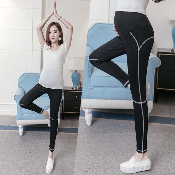 mejor selección 7e8ec 9b62d Compre Dama Maternidad Sólido Negro Deporte Yoga Leggings Pantalones Ropa  Para Mujeres Embarazadas Pantalones Ropa Elástica Modal Embarazo Pantalones  ...