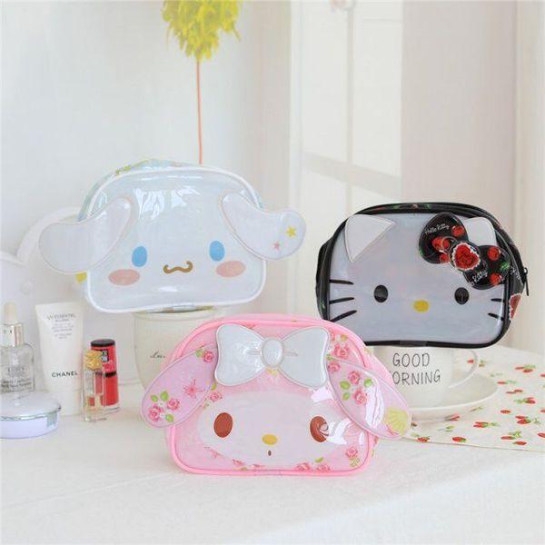 Hello Kitty My Melody Cinnamoroll Pvc Cosmetic Bag Woman Waterproof Portable Travel Wash Bag Storage Makeup Organizer
