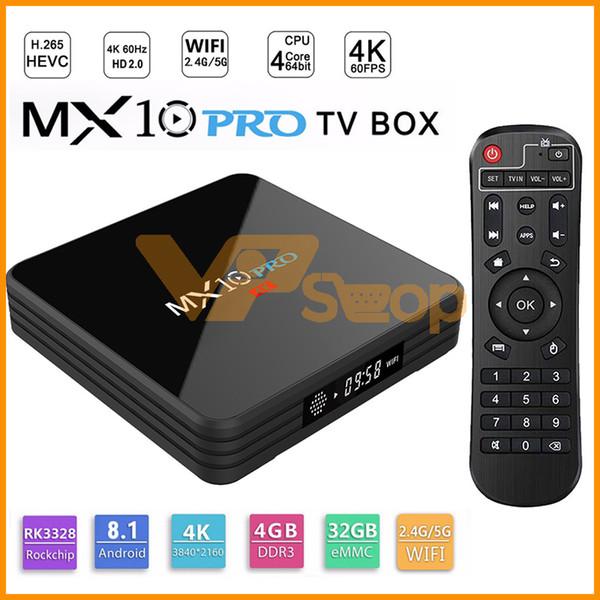 MX10 PRO Smart TV Box con display digitale Rockchip 3328 Android 8.1 4GB RAM 32GB ROM 2.4G 5G WiFi Media Player BT4.1 Supporto 4K H.265