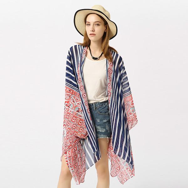En gros Nouveau 2019 printemps été foulard en mousseline de soie Bikini Blouse foulard à rayures Wraps plage crème solaire châle Sarongs