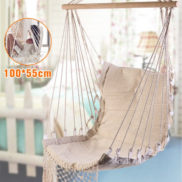 Nordic Style White Hammock Outdoor Indoor Garden Dormitory Bedroom Hanging Chair For Child Adult Swinging Single Safety Hammock SH190713