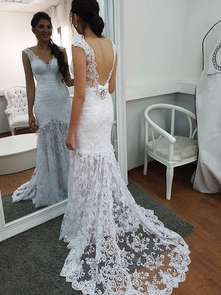pretty lace backless mermaid wedding dresses cheap cap sleeves fishtail boho wedding dress for women see through modest robe de mariee 2019