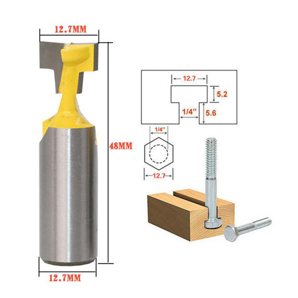 DRELD 1pc Woodworking Tool 1/2 Inch Shank Carbide T Slot Lock Hole Cutter Router Bit Wood Milling Cutter Tool 1/2inch Diameter DRELD