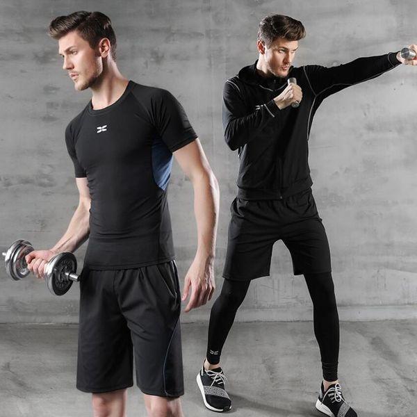 3PCS/Set Man Sports Suit Quick Dry Jogging Tights Training Leggings Runnicksuit Sports Pants Gym Shorts Outdoor Workout Set