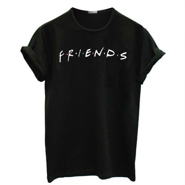 Cartas de los amigos imprimen la camiseta TV Show Women Junior Pullover de manga corta Tops Teen Girls Graphic Tees Verano camiseta floja ocasional