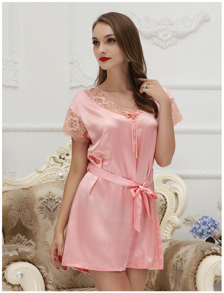Women Nightgowns Sleepshirts 2017 Women Summer Style Nightdress Robe Faux Silk Bathrobe Sleepwear Faux Satin Nightgown