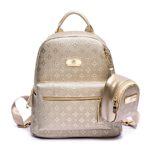 Wholesale- Women's Backpack Fashion 2016 Golden Women's Leisure Grade Pu Bag Lingge Package Princess Girl Backpacks for Ladies