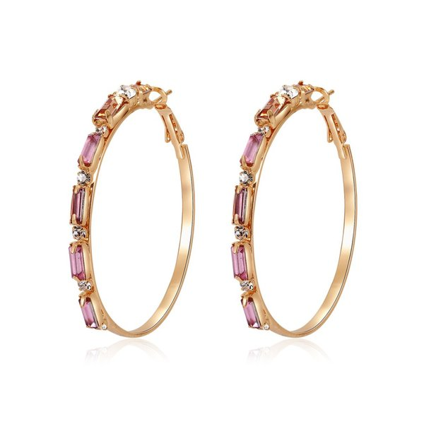 Vintage Gold Color Big Circle Hoop Earrings For Women Steampunk Ear Clip Party Jewelry Accessories Gift Beauty Rhinestone